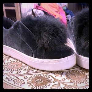 Sam Edelman blue felt shoes with fuzzy balls